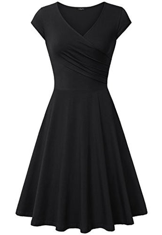 Dresses for Women Cocktail,Laksmi Knee Length Curve Pleat Discount Dress,X-Large All Black