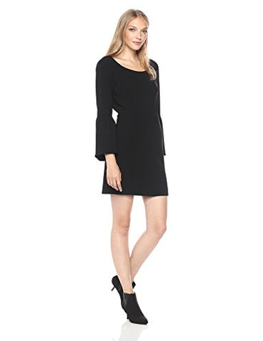 French Connection Women's Whisper Ruth Bell Sleeve Dress, Black, 12