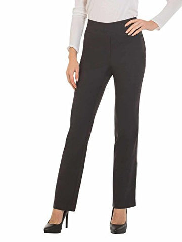 Womens Bootcut Stretch Dress Pants - Comfy Pull On Style, Red Hanger, Charcoal-XL