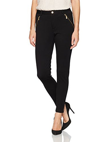 Calvin Klein Women's Compression Pant with Zips, Black, M