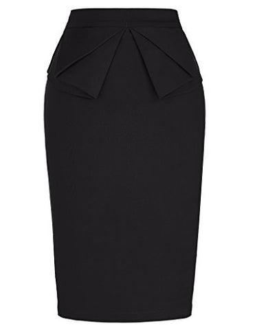 PrettyWorld Vintage Dress Women's High Waist Stretch Bodycon Pencil Skirt Solid Black (S) KL-1 CL454