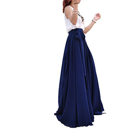 Melansay Women Beatiful Bow Tie Summer Beach Chiffon High Waist Maxi Skirt XL,Navy Blue