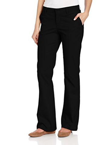 Dickies Women's Flat Front Stretch Twill Pant, Black, 16 Regular