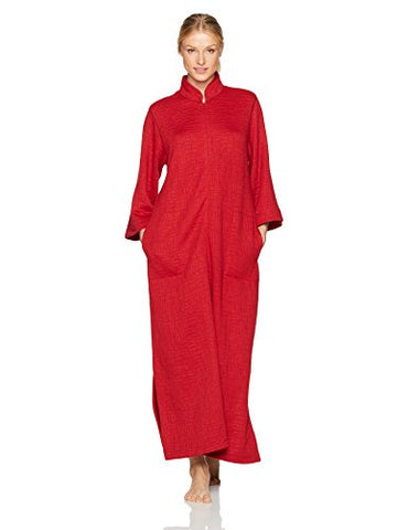 Natori Women's Akimo Quilted Zip Caftan, Dark Real Red, Extra Large