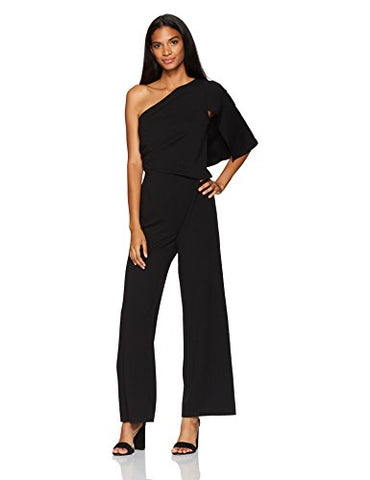 Adrianna Papell Women's Knit Crepe One-Shoulder Jumpsuit, Black, 12