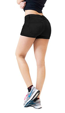 Womens Butt lifting Twill Denim Shorts SH43300 Black 5