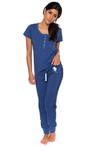 US Polo Assn. Women's 2 Piece Shorts Sleeve Shirt and Skinny Pant PJ Set Blue M