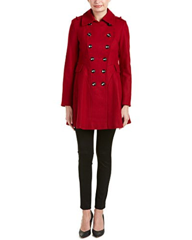 Via Spiga Women's Double Breasted Wool Fit and Flare Skating Coat, via Red, 4