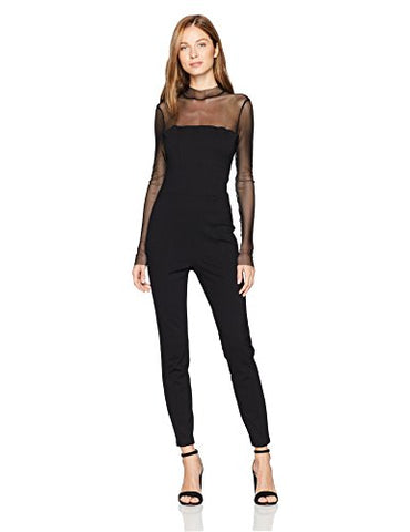 Guess Women's Long Sleeve Larsen Ponte Jumpsuit, Jet Black a, Small