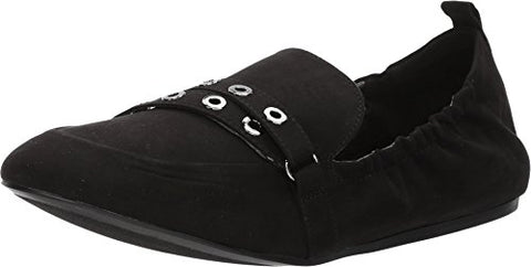 Nine West Women's Batter Fabric Loafer Flat, Black Fabric, 6 M US
