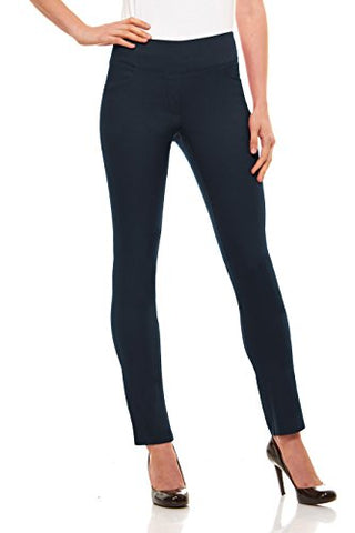 Womens Straight Leg Dress Pants - Stretch Slim Fit Pull On Style, Velucci, Indigo-S