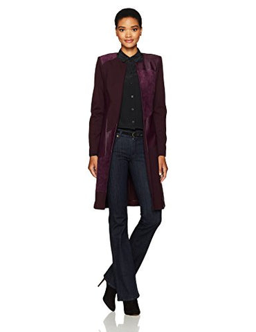 Calvin Klein Women's Long Jacket with Suede and Pu, Aubergine, 4