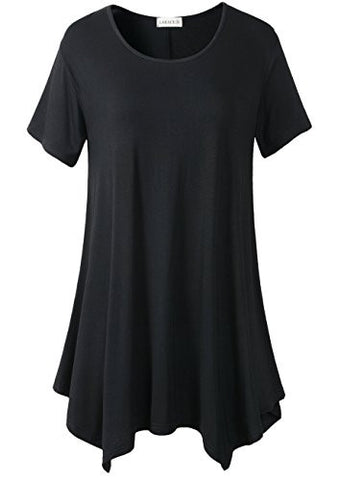 Lanmo Womens Swing Tunic Tops Loose Fit Comfy Flattering T Shirt (XL, Black)