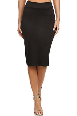 Women's Below the Knee Pencil Skirt for Office Wear - Made in USA,Black,Large