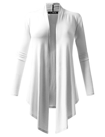 ALL FOR YOU Women's Soft Drape Cardigan Long Sleeve White X-Large