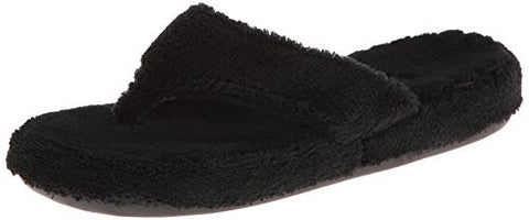 ACORN Women's Spa Thong Slipper,Black,Large/8-9 M US