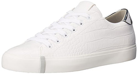 A|X Armani Exchange Women's Croc Low Top Sneaker, Bianco, 6 M US