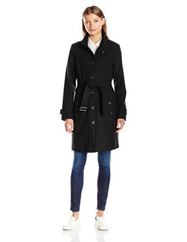 Tommy Hilfiger Women's Single Breasted Wool Trench Coat, Black, S