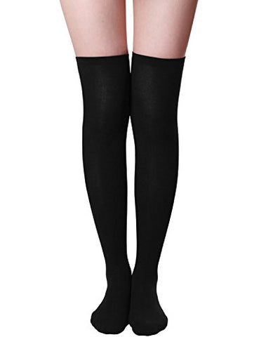 HASLRA Women's Solid Over The Knee High Socks 1 Pairs (BLACK-M)