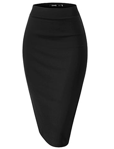 TWINTH Womens High Waist Stretch Bodycon Classic Pencil Skirt BLACK S