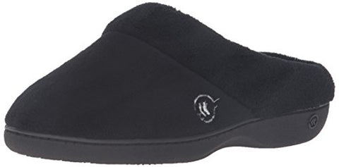Isotoner Women's Classic Mixed Microterry Hoodback Slippers, Black, Medium/7.5-8 M US