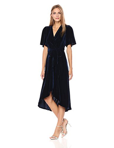 Donna Morgan Women's Fleyr Wrap Puff Sleeve Dress, Uniform Navy, 4