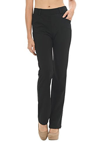 "Straight Fit Stretchy Solid Trousers (Medium - 32"" Inseam, Black)"
