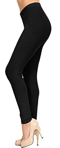 VIV Collection Solid Brushed Leggings (Deep Black, 4 (S) - 12 (L))