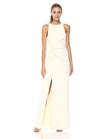 HALSTON HERITAGE Women's Sleeveless Boat Neck Ruched Side Gown, Cream, 6