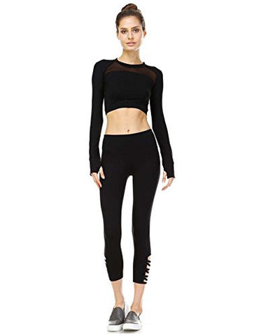 Mono B Women's Performance Activewear - Yoga Leggings with Sleek Contrast Mesh Panels (Small, AP1336_BLK)