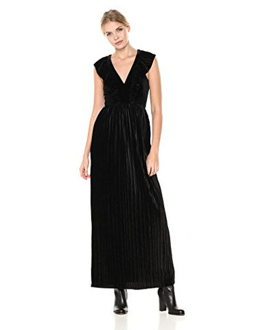 BCBGeneration Women's Ruffle Front Maxi Dress, Black, 4