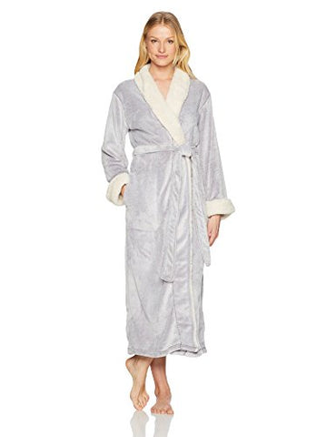 Natori Women's Velour Robe with Sherpa Trim, Wisteria, Extra Large