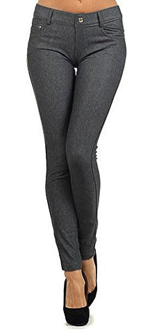 Yelete Womens Basic Five Pocket Stretch Jegging Tights Pants L/XL Grey