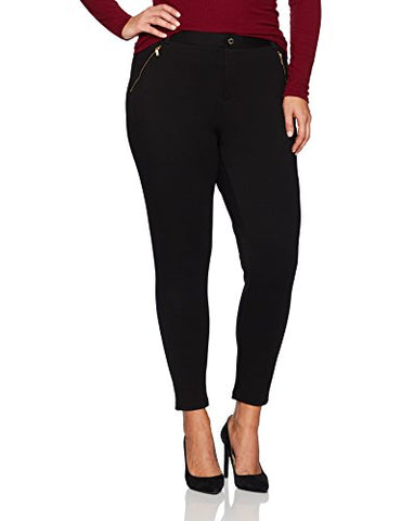 Calvin Klein Women's Plus Size Compression Pant with Zips, Black, 0X