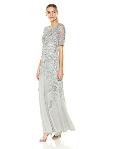 Adrianna Papell Women's 3/4 Sleev Long Beaded Dress Gown, Blue Mist, 12