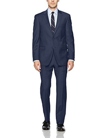 Tommy Hilfiger Men's Wool Stretch Ready to Wear Suit W/Hemmed Pant, Blue Tic, 44L
