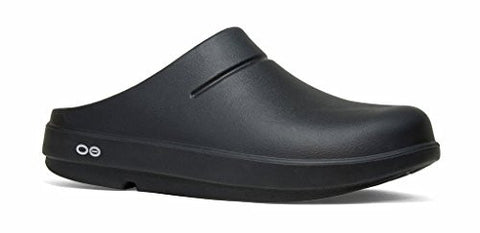 OOFOS Unisex Oocloog Clog Mule, Black/Matte Finish, Men's 6 Women's 8 US