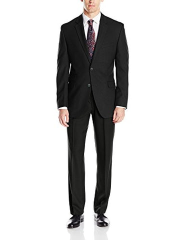 Perry Ellis Portfolio Men's Slim Fit Suit With Hemmed Pant, Black, 40 Long