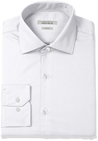 "Perry Ellis Men's Slim Fit Wrinkle Free Solid Twill Dress Shirt with Adjustable Collar, White, 16"" Neck 34""-35"" Sleeve"