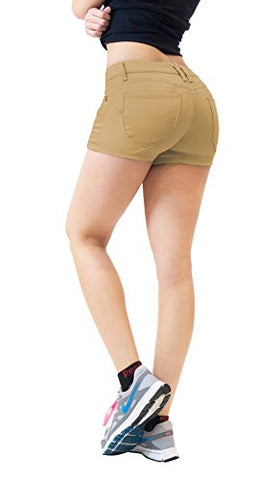 Womens Butt lifting Twill Denim Shorts SH43308 BEIGE/KHAK 9