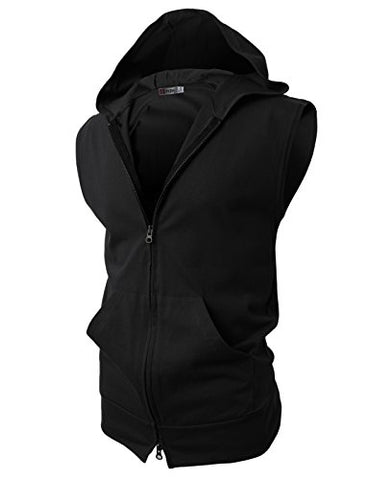 H2H Mens Easy Wear Fashion Lightweight Sleeveless Hoodies Zip-up with Pocket BLACK US M/Asia L (JPSK13_N25)