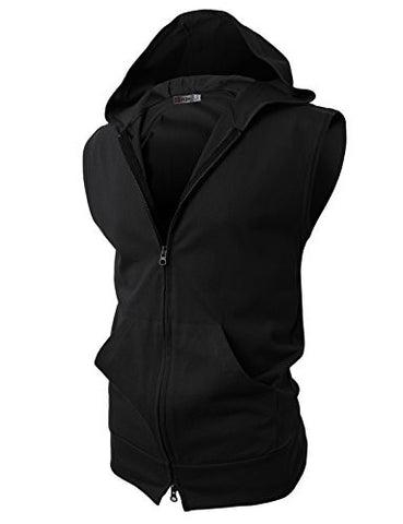 H2H Men Sleeveless Fashion Hoodies Zip-up with Pocket BLACK Asia XL (JPSK13_N25)