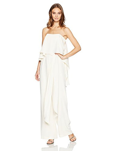 HALSTON HERITAGE Women's Strapless Jumpsuit with Flowy Back, Cream, 8