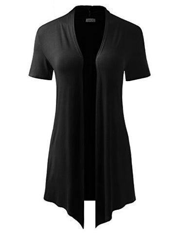 BIADANI Women Versatile Soft Short Sleeve Open Front Drape Cardigan Black X-Large