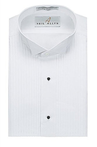 Neil Allyn Mens Tuxedo Shirt Poly/Cotton Wing Collar 1/4 Inch Pleat, White (17 - 34/35)