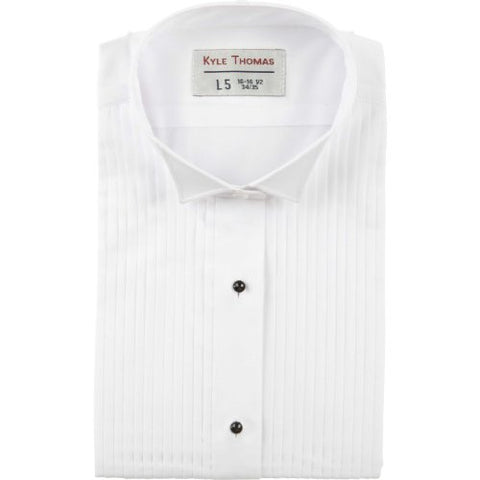 "Kyle Thomas Men's 1/4"" Pleat Wing Collar Tuxedo Shirt , White, XL (17.5"" Neck)/ 35"" Sleeve"