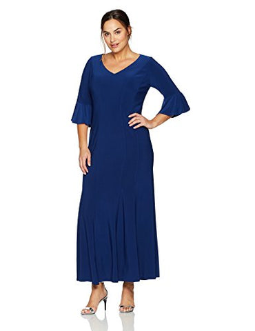 Alex Evenings Women's Plus Size Long Dress with Bell Sleeves and Seaming Detail, Evening Blue, 24W