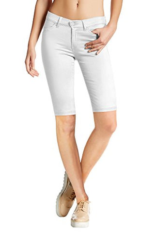 HyBrid & Company Womens Perfectly Shaping Hyper Stretch Bermuda Shorts B44876 White Large