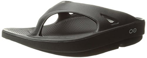 OOFOS Unisex Original Thong flip flop , Black, 8 M US Women's/ 6 M US Men's