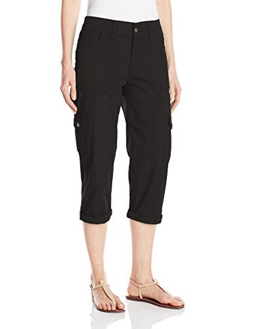 Lee Women's Relaxed Fit Austyn Knit Waist Capri Pant, Black, 12